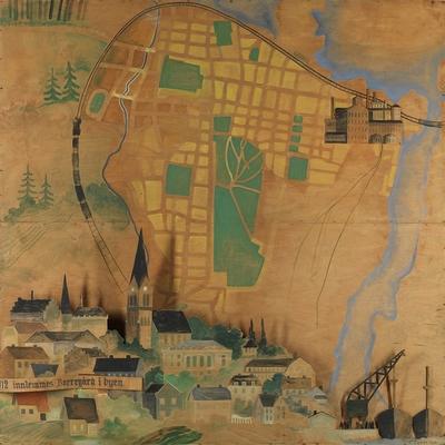 I 1912 innlemmes Borregård i byen; Maleri