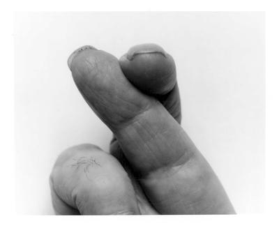 Self Portrait Crossed Fingers No 2