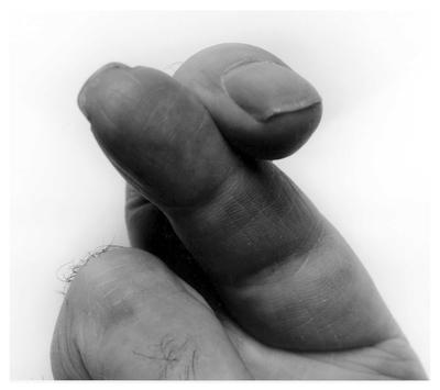 Self Portrait Crossed Fingers No 3