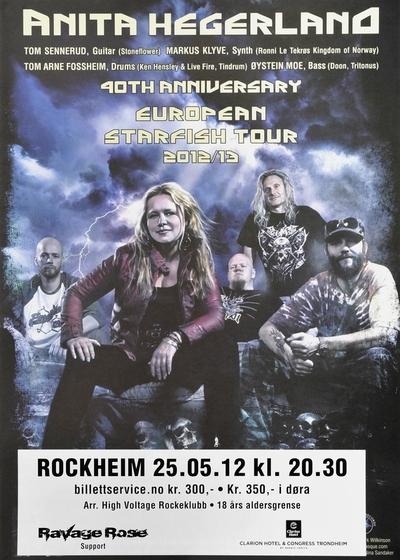 Anita Hegerland / 40th Anniversary European Starfish Tour 2012/13 : Rockheim; Plakat