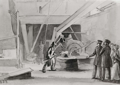"""""""Interiör av  vallonsmedja vid Gimo bruk 1838"""". Tuschlavering (nr 38) av Fritz von Dardel (1817-1901). Inv nr 67483. Uppland, Olands härad, Skäfthammars socken, Gimobruk."""