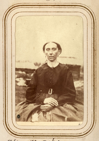 """Image from object titled """"Fröken H. Björkman"""". Ur Lotten von Dübens fotoalbum med motiv från den etnologiska expedition till Lappland som leddes av hennes make Gustaf von Düben 1868."""