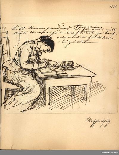 """Teckning. """"Anna. Till korrespondans och för att i mitt sköte kunna förvara förtroliga bref och andra flickhemligheter. Skrivportfölj."""""""