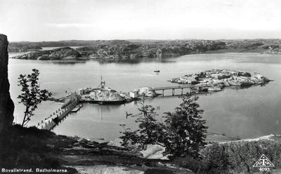 """Image from object titled Text på kortet:"""" Bovallstrand. Badholmarna""""."""