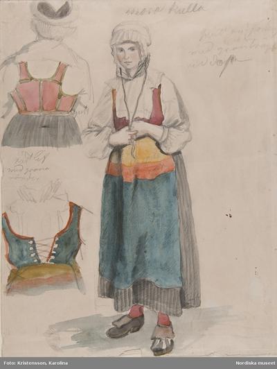 Kvinna samt detalj livstycke bak och fram. Akvarell av G.W.Palm