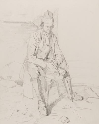 Blyertsteckning av  J. Kronberg. Sittande man i helfigur,med yxa  Orsa 24 juli 1867.