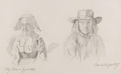 Blyertsteckning av  J. Kronberg. Kvinna Orsa 19 juli 1867 och man  Orsa d 26 juli 1867.