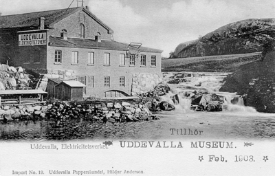"Image from object titled Tryckt text på vykortets framsida: ""Elektricitetsverket Uddevalla""."
