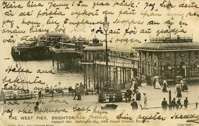 Image from object titled Notering på kortet: The west pier, Brighton. Opened 1866. Enlarged 1893. with Grand Concert Pavi.on.
