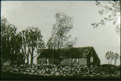 Image from object titled Teckning: Agnestad, torpstuga.