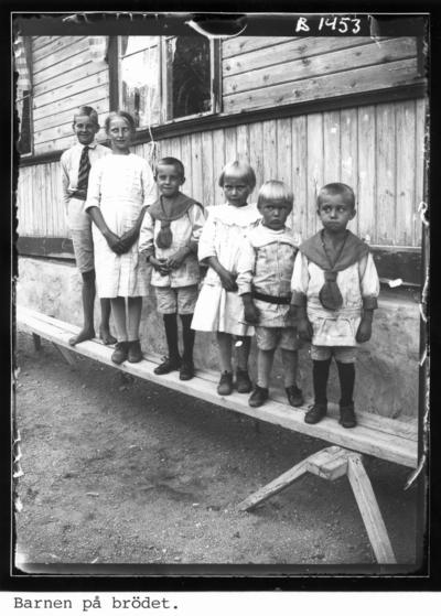 Barn (alla kusiner) stående på en träplanka. Från vänster: Ivar Eriksson, Greta Hammarsten, Oskar Sundgren, Anna Hammarsten, John Hammarsten, Sigvard Sundgren.