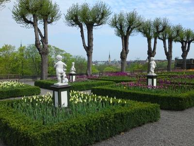 Image from object titled I förgrunden blommar tulpaner i olika färger övervakade av några figurer. Träd i rad rammar in Östermalm i bakgrunden.