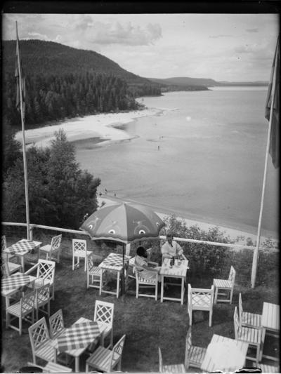 Image from object titled Vy över skog, strand och vattendrag, Sverige