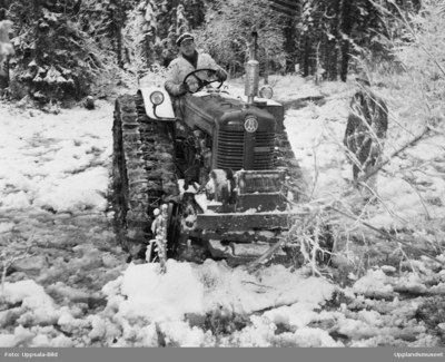 Traktor i skogen, Uppland, december 1952