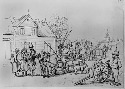 """Exteriörmiljö från ett halländskt gästgiveri, till vänster: en betalande resenär. Teckning av Fr. v. Dardel (1817-1901) ur: """"Mrs. Black&Smith. En route pour la Scandinavie"""". Handskrift."""