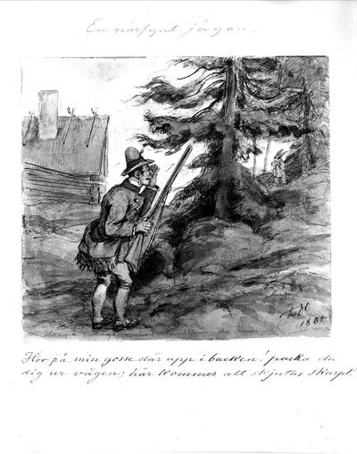 """Teckning av Fritz von Dardel. """"En närsynt jägare."""" """"Hör på min gosse där uppe i backen! packa du dig ur vägen; här kommer att skjutas skarpt!"""" En kisande jägare med glasögon spanar mot en gran där en hare gömmer sig."""