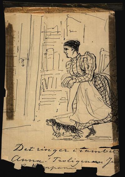 """Teckning av Fritz von Dardel. """"Det ringer i tamburen Anna!"""" En kvinna i vitt förkläde ilar mot dörren med en liten hund framför sig."""