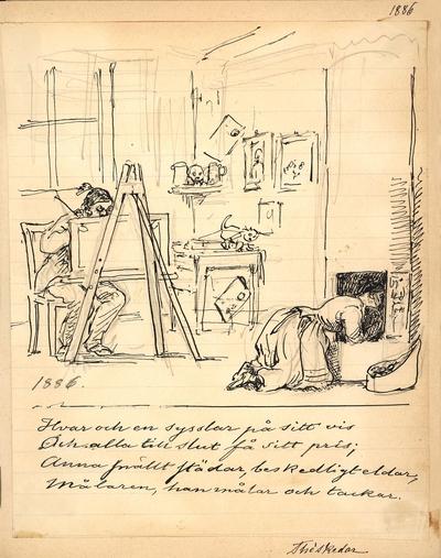 """Tuschteckning av Fritz von Dardel från 1886. En kvinna i förkläde ligger på knä framför en kakelugn. I bakgrunden sitter en man bakom ett staffli. """"Hvar och en sysslar på sitt vis Och alla till slut får sitt pris; Anna..."""