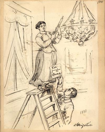 En kvinna i förkläde byter ljus i en takkrona. En man håller stegen åt henne. Teckning av Fritz von Dardel, 1881