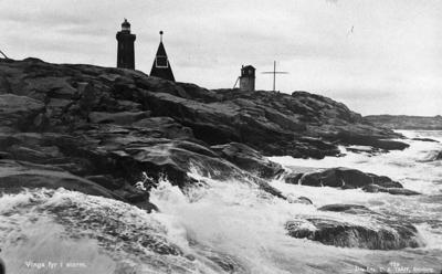 "Image from object titled Vykort: ""Vinga fyr i storm"""
