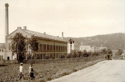 Image from object titled Evedahls fabrik längst till vänster, sedan följer de s.k. norska fabrikerna Pedersen och Decker, Klädningstygsfabriken och Band-och Hängslefabriken. Med fotografiet kom fotografen på fjärde plats i Svenska Tusristföreningens Pristäflan 1902.