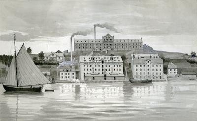 Image from object titled Akvarell med motiv av Sommelius Fabrik i Stockholm.