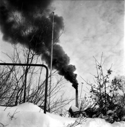 Image from object titled Bollnäs, Mejeriet, Rök från skorstenen, 1 Mars 1960