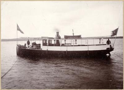 """Ångfartyget """"Rättvik"""" som sattes i trafik på rutten Rättvik-Leksand av Gävle-Dala Järnvägs AB  i juni 1895."""