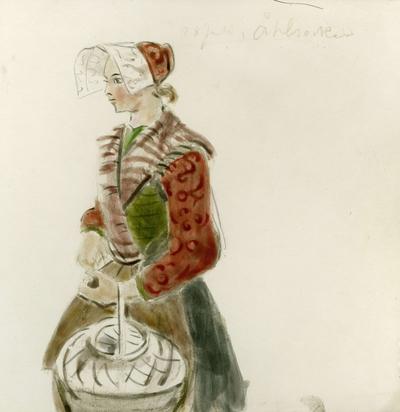 Måleri, akvarellmålningar. Kvinna i folkdräkt. Kulla från Ål sn, Dalarna.