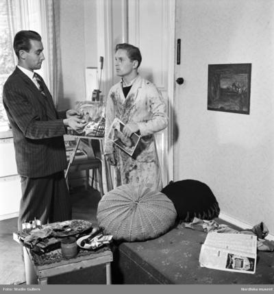 """Image from object titled Illustration till """"Farlig fåfänga"""" av Stieg Trenter, som publicerades som följetong i tidningen Allers 1944."""