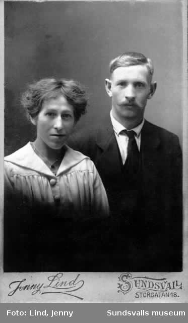 Porträtt av Hjalmar Andersson och hans hustru Signe Matilda