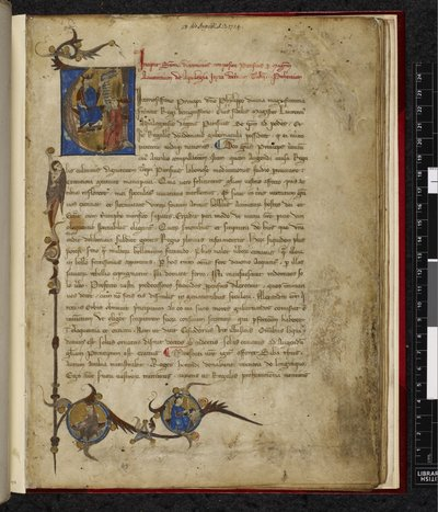 Historiated initial and border from BL Harley 3593, f. 1