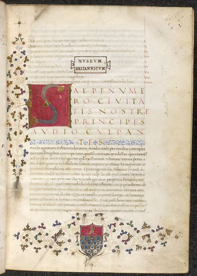 Initial, border and display script from BL Lansdowne 833, f. 1