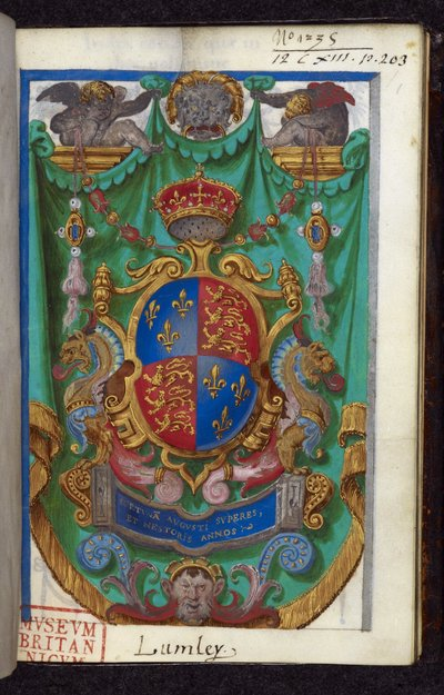 Royal arms of England from BL Royal 12 C XIII, f. 1