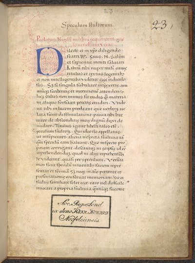 Decorated initial from BL Arundel 23, f. 1