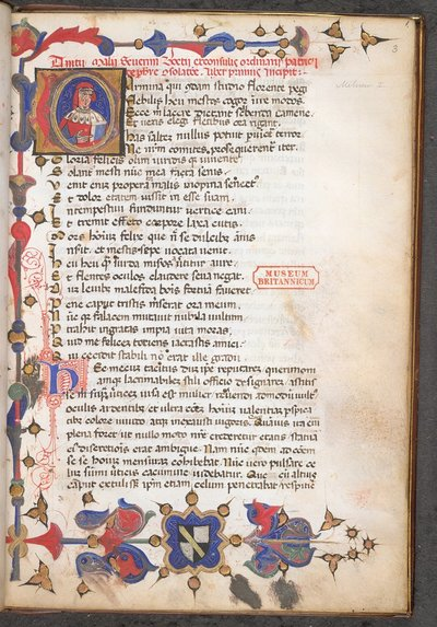 Historiated initial of Boethius from BL Burn 130, f. 3