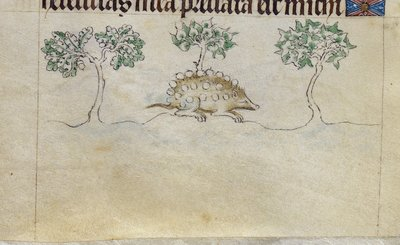 Image from object titled Hedgehog from BL Royal 2 B VII, f. 97v