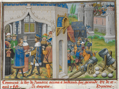 Image from object titled King of Navarre from BL Royal 14 E IV, f. 28v