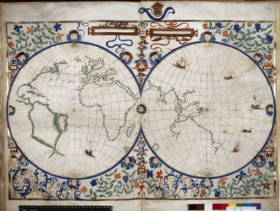 Image from object titled Map of the world from BL Royal 20 E IX, ff. 29v-30