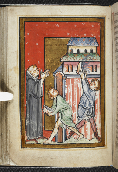 Image from object titled Cuthbert extinguishing a fire set by a demon from BL YT 26, f. 31v