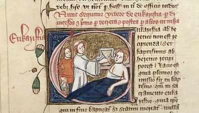 Image from object titled Eucharistia (Eucharist) from BL Royal 6 E VII, f. 70