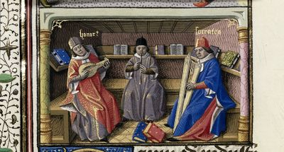 Image from object titled Trio of musicians from BL Harley 4375, f. 151v