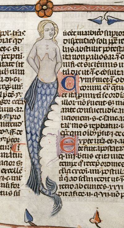 Image from object titled Mermaid from BL Royal 10 E IV, f. 47