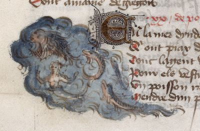 Image from object titled Mermaid and fish from BL Harley 334, f. 57