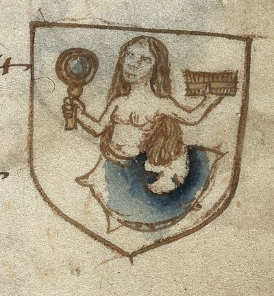 Image from object titled Mermaid with mirror from BL Harley 6149, f. 30