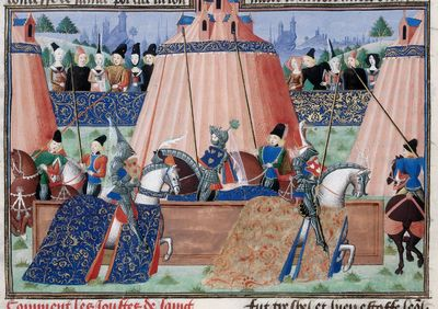 Image from object titled Tents and mounted knights from BL Harley 4379, f. 23v