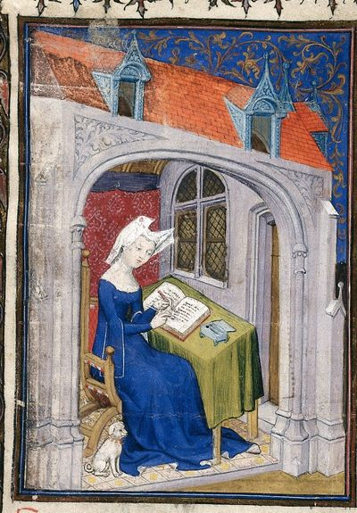 Image from object titled Christine de Pizan from BL Harley 4431, f. 4