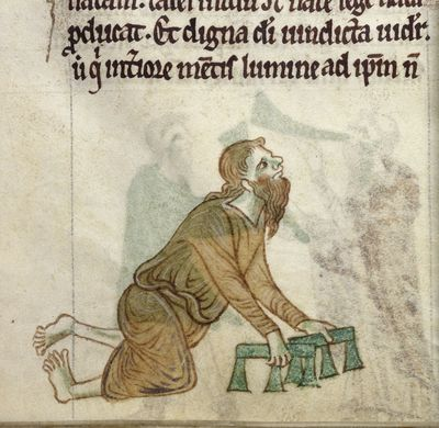 Image from object titled A crippled man from BL Royal 13 B VIII, f. 30v