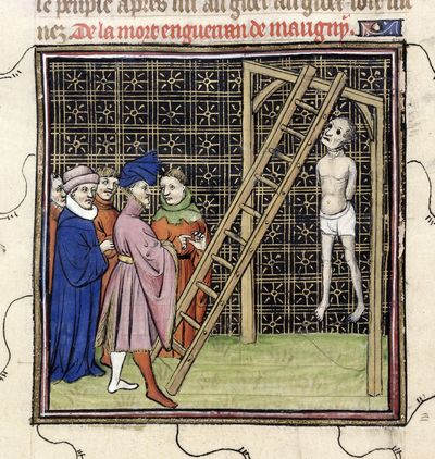 Image from object titled Enguerrand de Marigny hanged from BL Royal 20 C VII, f. 51