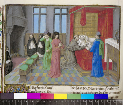 Image from object titled Death of Godfrey of Bouillon from BL Royal 15 E I, f. 150v